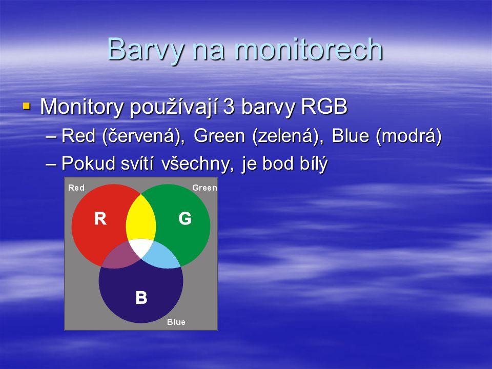 Barvy na monitorech  Monitory používají 3 barvy RGB –Red (červená), Green (zelená), Blue (modrá) –Pokud svítí všechny, je bod bílý