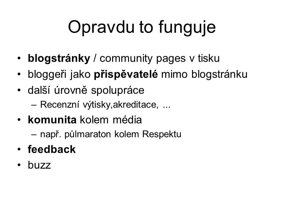 Opravdu to funguje blogstránky / community pages v tisku bloggeři jako přispěvatelé mimo blogstránku další úrovně spolupráce –Recenzní výtisky,akreditace,...