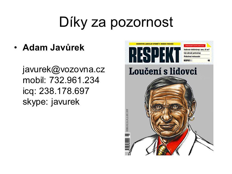 Díky za pozornost Adam Javůrek javurek@vozovna.cz mobil: 732.961.234 icq: 238.178.697 skype: javurek