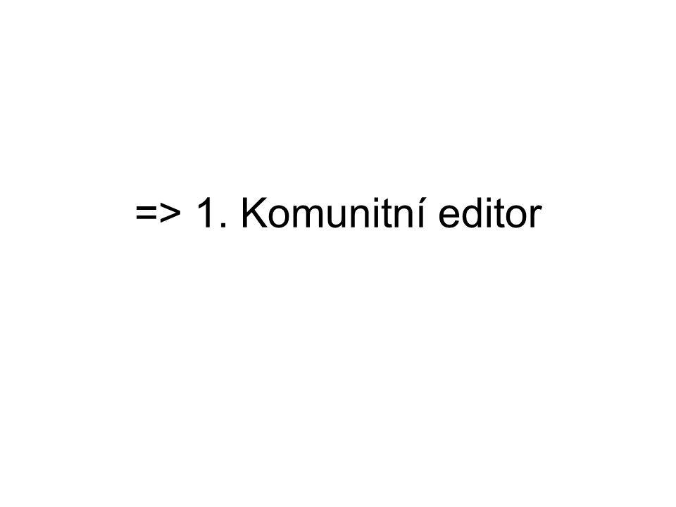 => 1. Komunitní editor