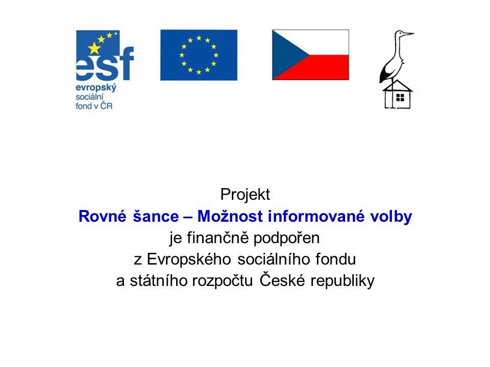 Projekt Rovné šance – Možnost informované volby je finančně podpořen z Evropského sociálního fondu a státního rozpočtu České republiky