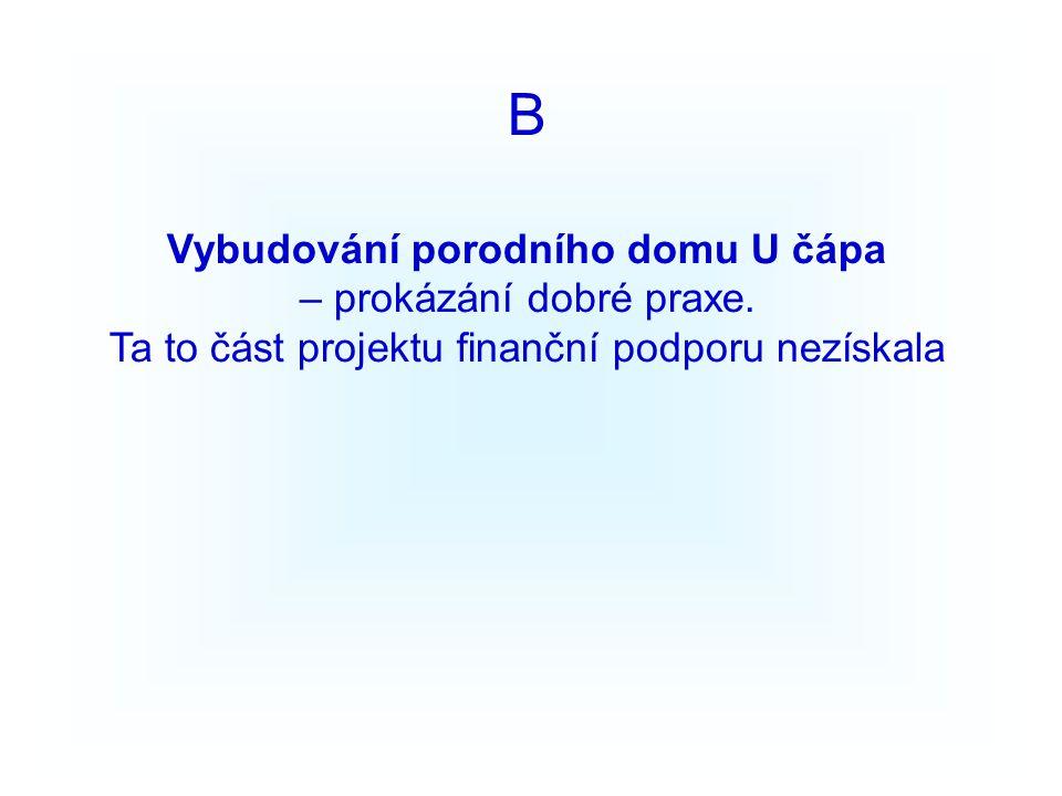 B Vybudování porodního domu U čápa – prokázání dobré praxe.