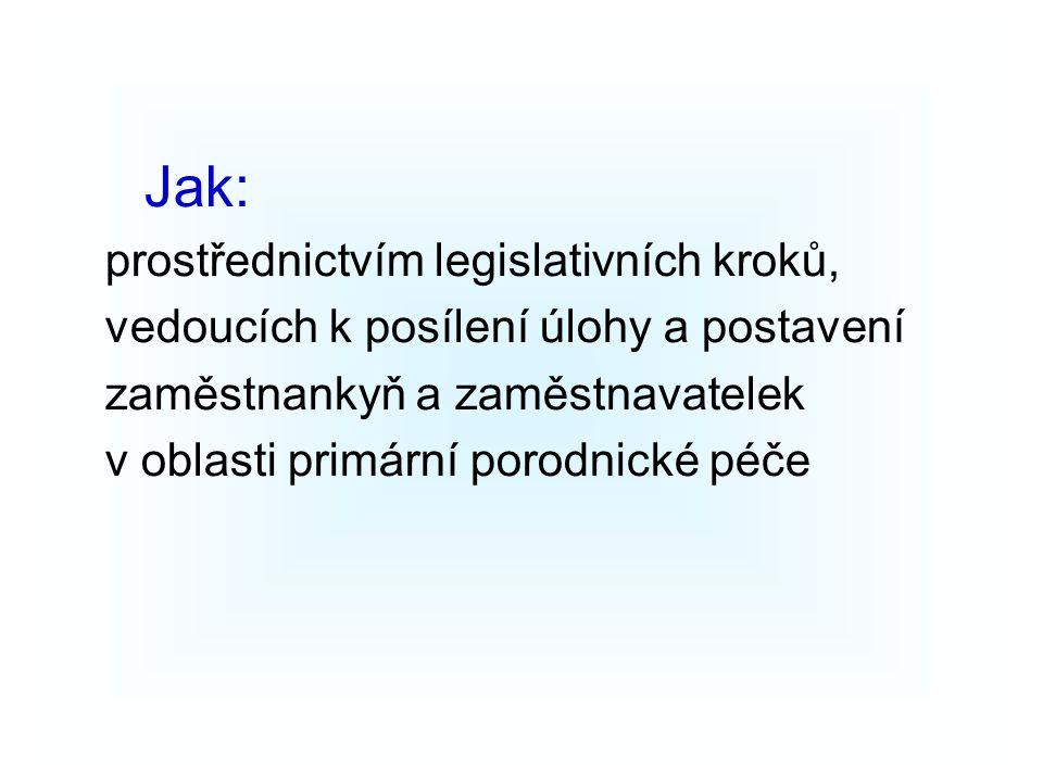 Jak: prostřednictvím legislativních kroků, vedoucích k posílení úlohy a postavení zaměstnankyň a zaměstnavatelek v oblasti primární porodnické péče