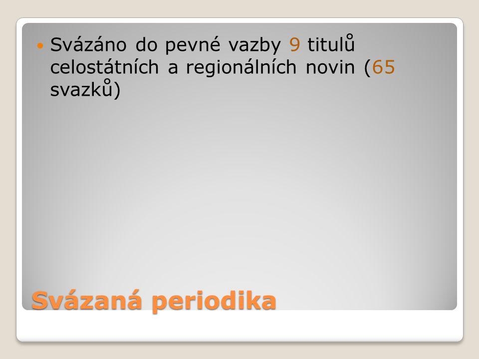 Svázaná periodika Svázáno do pevné vazby 9 titulů celostátních a regionálních novin (65 svazků)