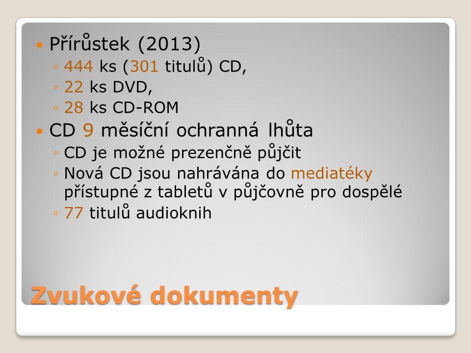 Zvukové dokumenty Přírůstek (2013) ◦444 ks (301 titulů) CD, ◦22 ks DVD, ◦28 ks CD-ROM CD 9 měsíční ochranná lhůta ◦CD je možné prezenčně půjčit ◦Nová CD jsou nahrávána do mediatéky přístupné z tabletů v půjčovně pro dospělé ◦77 titulů audioknih