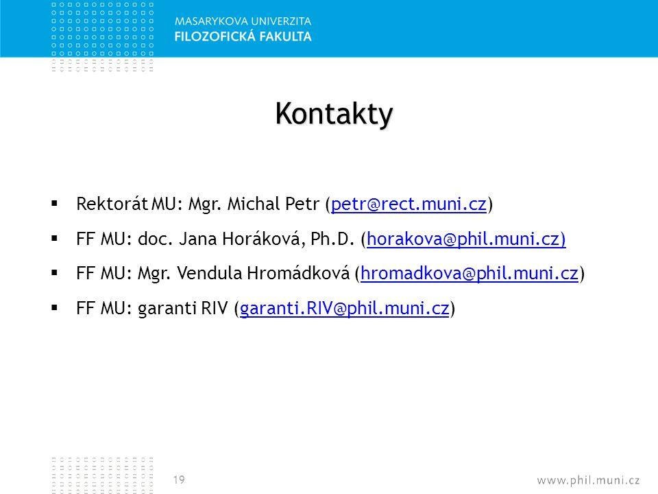 Kontakty  Rektorát MU: Mgr. Michal Petr (petr@rect.muni.cz)petr@rect.muni.cz  FF MU: doc. Jana Horáková, Ph.D. (horakova@phil.muni.cz)horakova@phil.