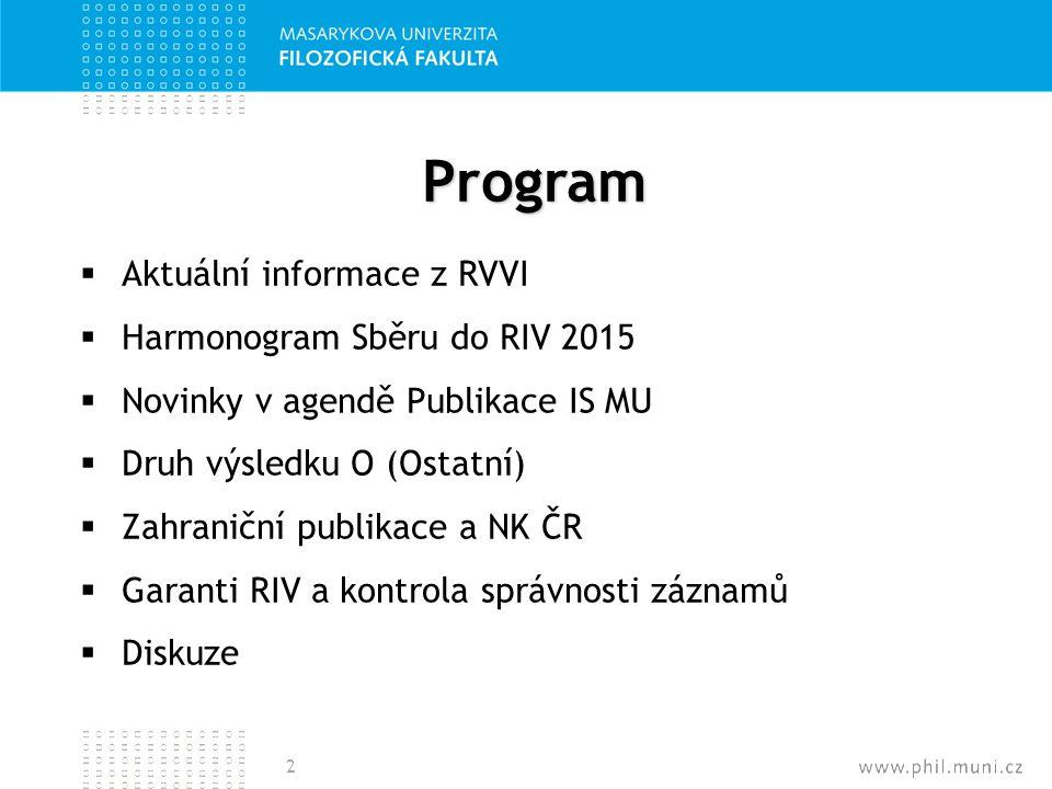 Program  Aktuální informace z RVVI  Harmonogram Sběru do RIV 2015  Novinky v agendě Publikace IS MU  Druh výsledku O (Ostatní)  Zahraniční publik
