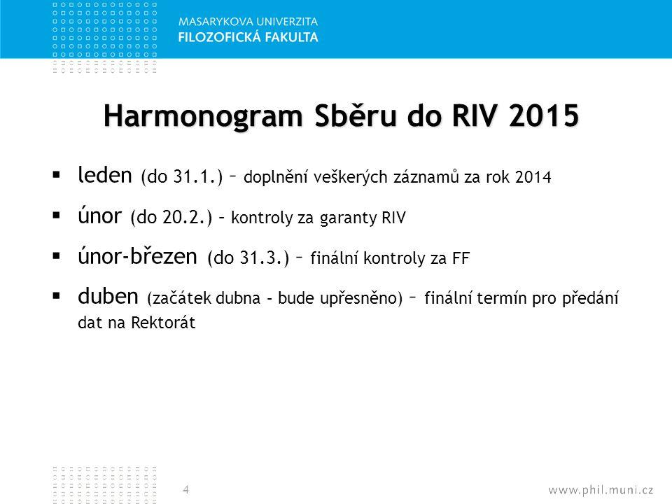 Harmonogram Sběru do RIV 2015  leden (do 31.1.) – doplnění veškerých záznamů za rok 2014  únor (do 20.2.) – kontroly za garanty RIV  únor-březen (d