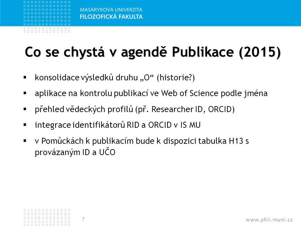 """Co se chystá v agendě Publikace (2015)  konsolidace výsledků druhu """"O"""" (historie?)  aplikace na kontrolu publikací ve Web of Science podle jména  p"""