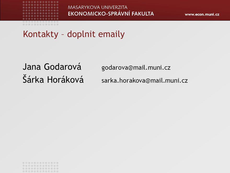 www.econ.muni.cz Kontakty – doplnit emaily Jana Godarová godarova@mail.muni.cz Šárka Horáková sarka.horakova@mail.muni.cz