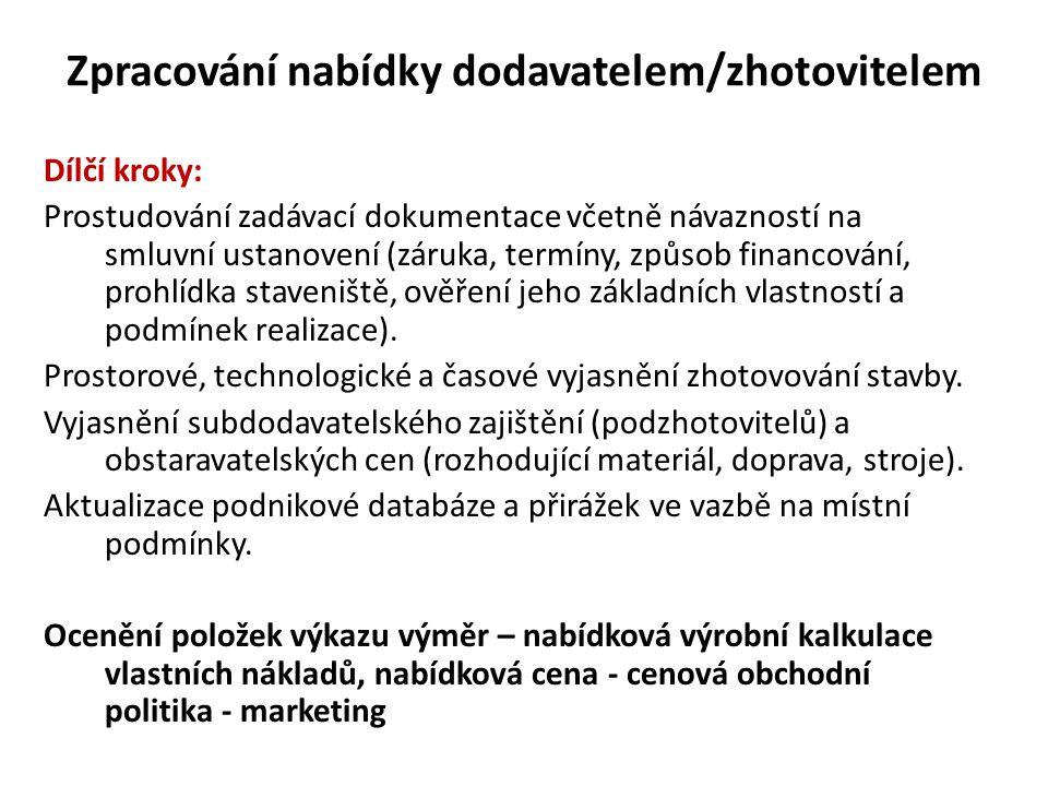 Zpracování nabídky dodavatelem/zhotovitelem Dílčí kroky: Prostudování zadávací dokumentace včetně návazností na smluvní ustanovení (záruka, termíny, z