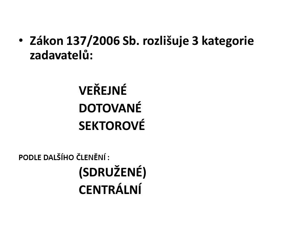 Zákon 137/2006 Sb. rozlišuje 3 kategorie zadavatelů: VEŘEJNÉ DOTOVANÉ SEKTOROVÉ PODLE DALŠÍHO ČLENĚNÍ : (SDRUŽENÉ) CENTRÁLNÍ