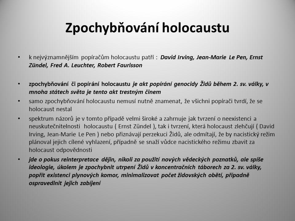 Zpochybňování holocaustu k nejvýznamnějším popíračům holocaustu patří : David Irving, Jean-Marie Le Pen, Ernst Zündel, Fred A. Leuchter, Robert Fauris