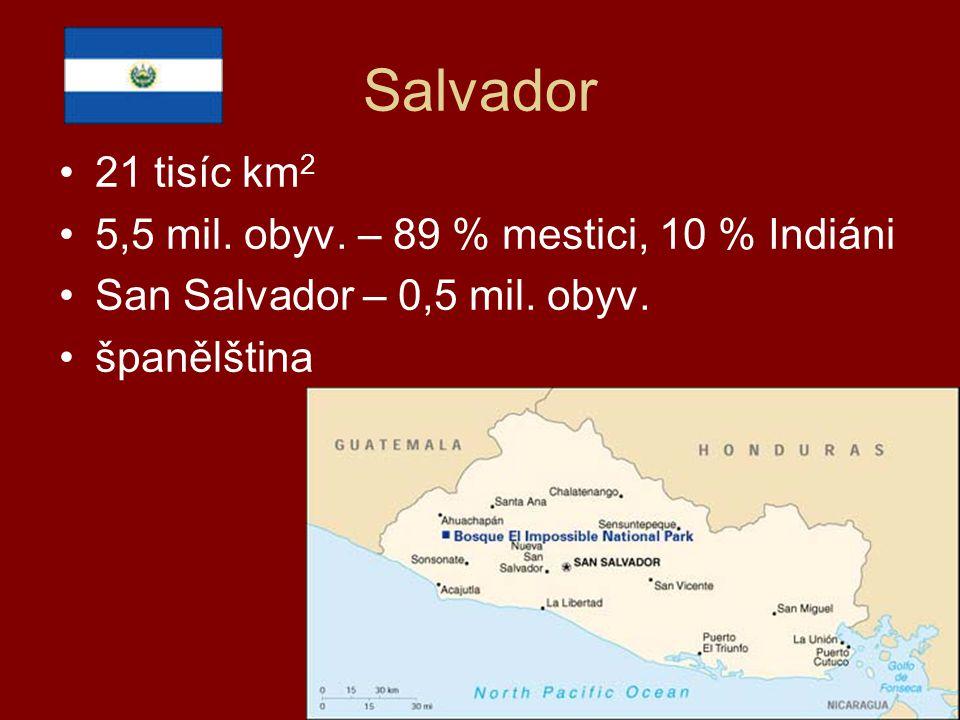Salvador 21 tisíc km 2 5,5 mil. obyv. – 89 % mestici, 10 % Indiáni San Salvador – 0,5 mil. obyv. španělština