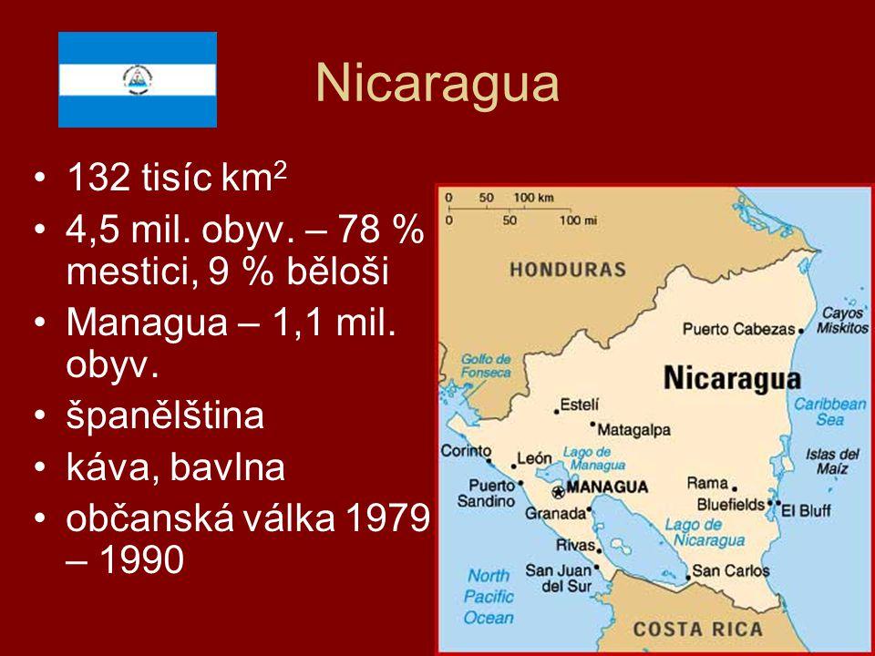 Nicaragua 132 tisíc km 2 4,5 mil. obyv. – 78 % mestici, 9 % běloši Managua – 1,1 mil. obyv. španělština káva, bavlna občanská válka 1979 – 1990