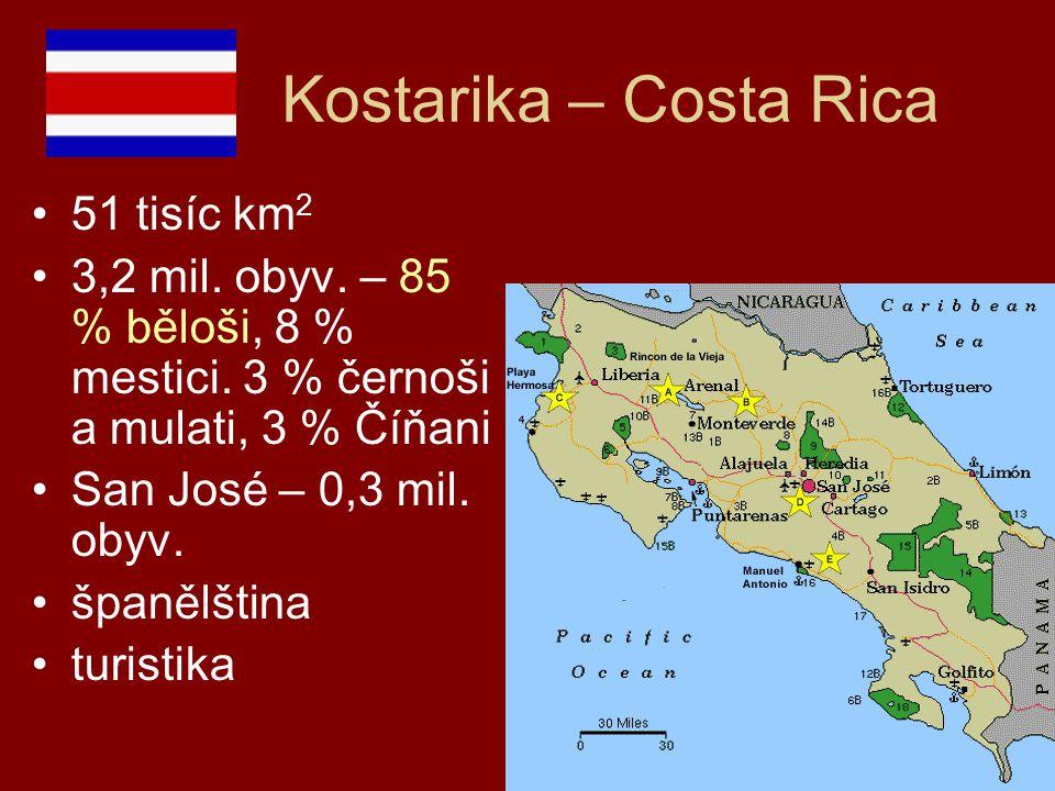 Kostarika – Costa Rica 51 tisíc km 2 3,2 mil. obyv. – 85 % běloši, 8 % mestici. 3 % černoši a mulati, 3 % Číňani San José – 0,3 mil. obyv. španělština