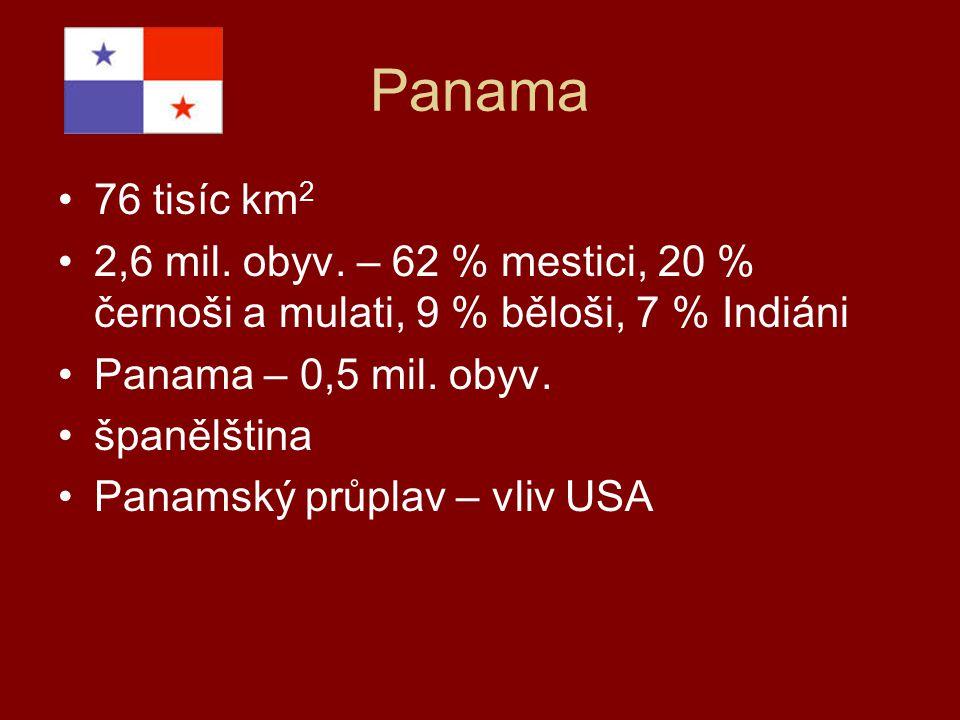 Panama 76 tisíc km 2 2,6 mil. obyv. – 62 % mestici, 20 % černoši a mulati, 9 % běloši, 7 % Indiáni Panama – 0,5 mil. obyv. španělština Panamský průpla
