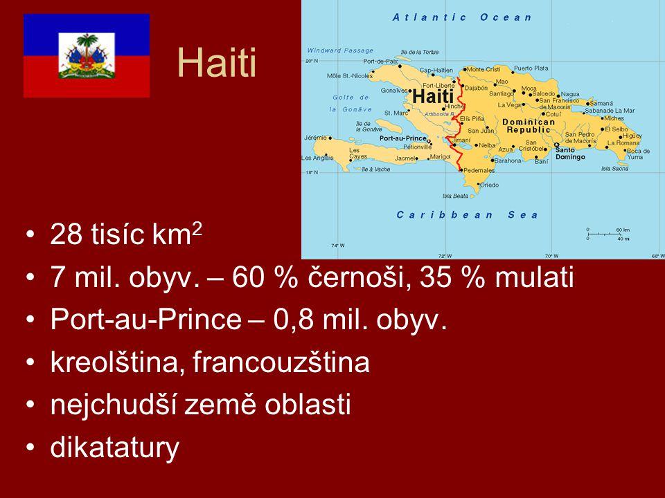 Haiti 28 tisíc km 2 7 mil. obyv. – 60 % černoši, 35 % mulati Port-au-Prince – 0,8 mil. obyv. kreolština, francouzština nejchudší země oblasti dikatatu