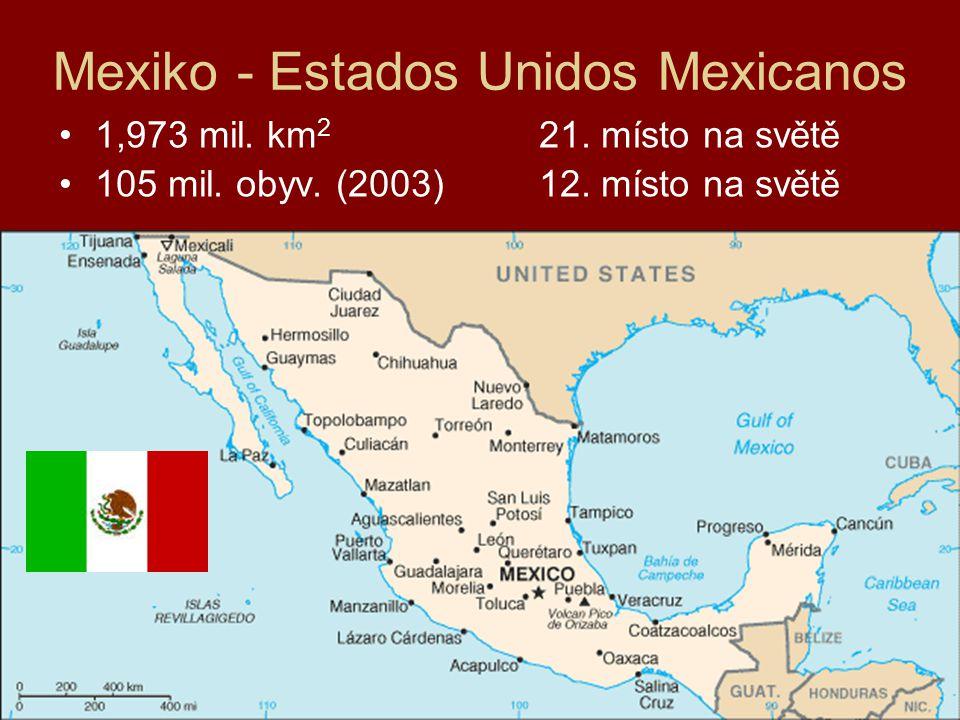 Mexiko - Estados Unidos Mexicanos 1,973 mil. km 2 21. místo na světě 105 mil. obyv. (2003)12. místo na světě