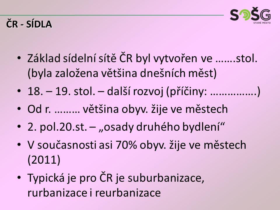 Základ sídelní sítě ČR byl vytvořen ve …….stol. (byla založena většina dnešních měst) 18. – 19. stol. – další rozvoj (příčiny: …………….) Od r. ……… větši