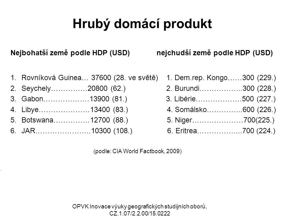 Hrubý domácí produkt Nejbohatší země podle HDP (USD) nejchudší země podle HDP (USD) 1.Rovníková Guinea… 37600 (28. ve světě) 1. Dem.rep. Kongo……300 (2
