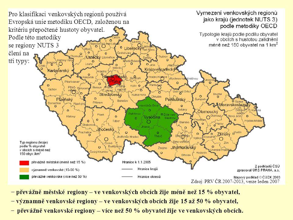 Zdroj: PRV ČR 2007-2013, verze leden 2007 − převážně městské regiony – ve venkovských obcích žije méně než 15 % obyvatel, − významně venkovské regiony – ve venkovských obcích žije 15 až 50 % obyvatel, − převážně venkovské regiony – více než 50 % obyvatel žije ve venkovských obcích.