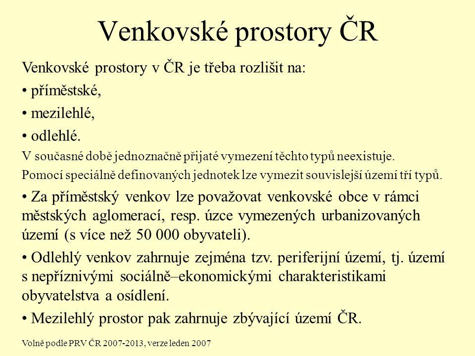 Venkovské prostory ČR Venkovské prostory v ČR je třeba rozlišit na: příměstské, mezilehlé, odlehlé.