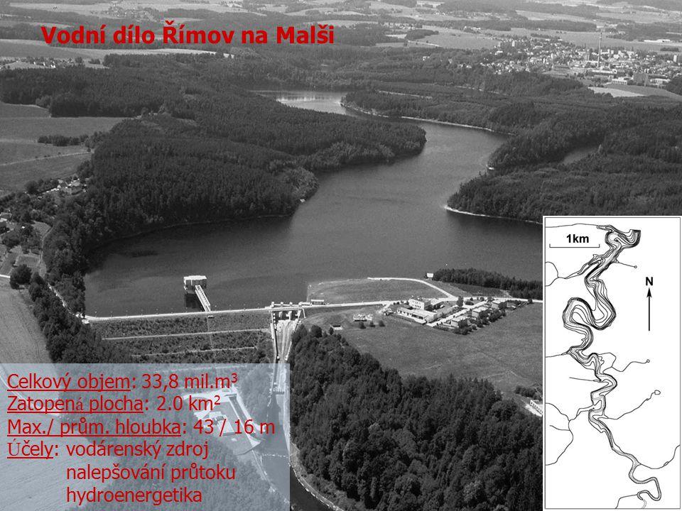 Vodní dílo Římov na Malši Celkový objem: 33,8 mil.m 3 Zatopen á plocha: 2.0 km 2 Max./ prům. hloubka: 43 / 16 m Ú čely: vodárenský zdroj nalepšování p