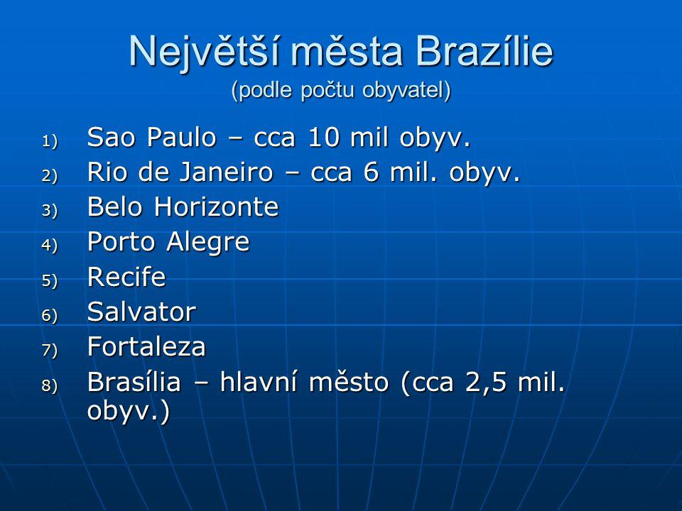 Největší města Brazílie (podle počtu obyvatel) 1) Sao Paulo – cca 10 mil obyv.