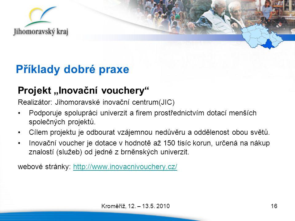 """16 Příklady dobré praxe Projekt """"Inovační vouchery"""" Realizátor: Jihomoravské inovační centrum(JIC) Podporuje spolupráci univerzit a firem prostřednict"""