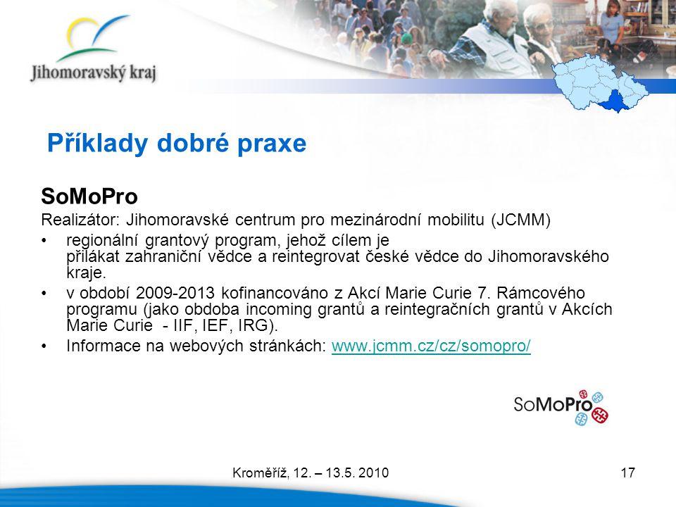 17 Příklady dobré praxe SoMoPro Realizátor: Jihomoravské centrum pro mezinárodní mobilitu (JCMM) regionální grantový program, jehož cílem je přilákat