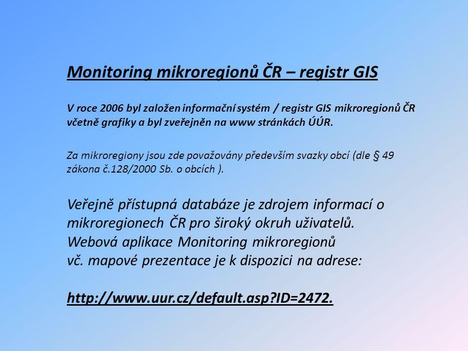 Monitoring mikroregionů ČR – registr GIS V roce 2006 byl založen informační systém / registr GIS mikroregionů ČR včetně grafiky a byl zveřejněn na www stránkách ÚÚR.