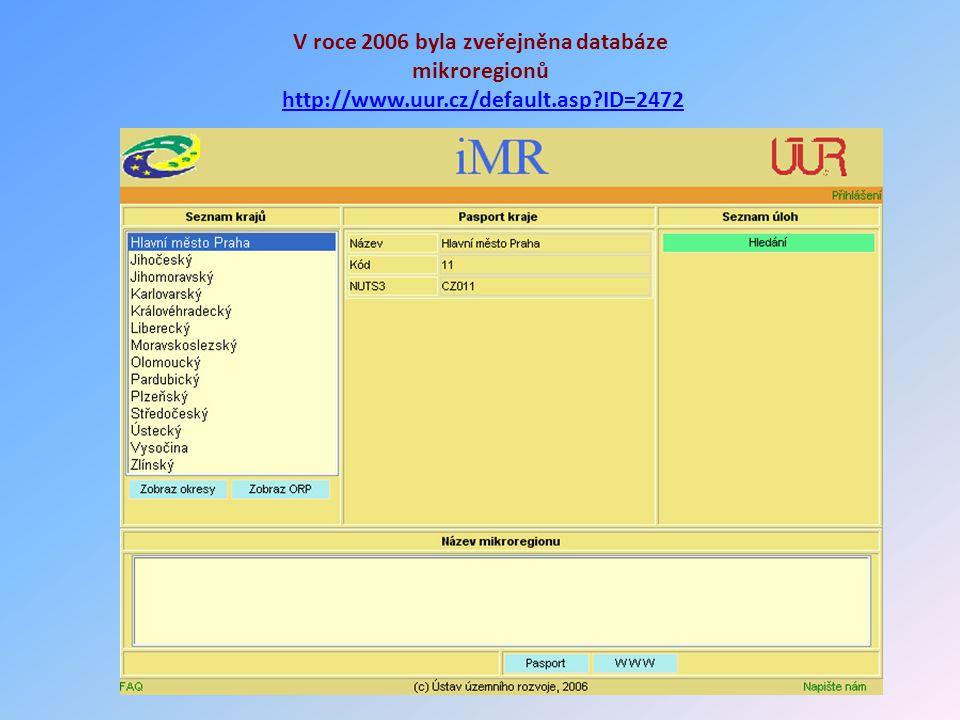 V roce 2006 byla zveřejněna databáze mikroregionů http://www.uur.cz/default.asp?ID=2472http://www.uur.cz/default.asp?ID=2472