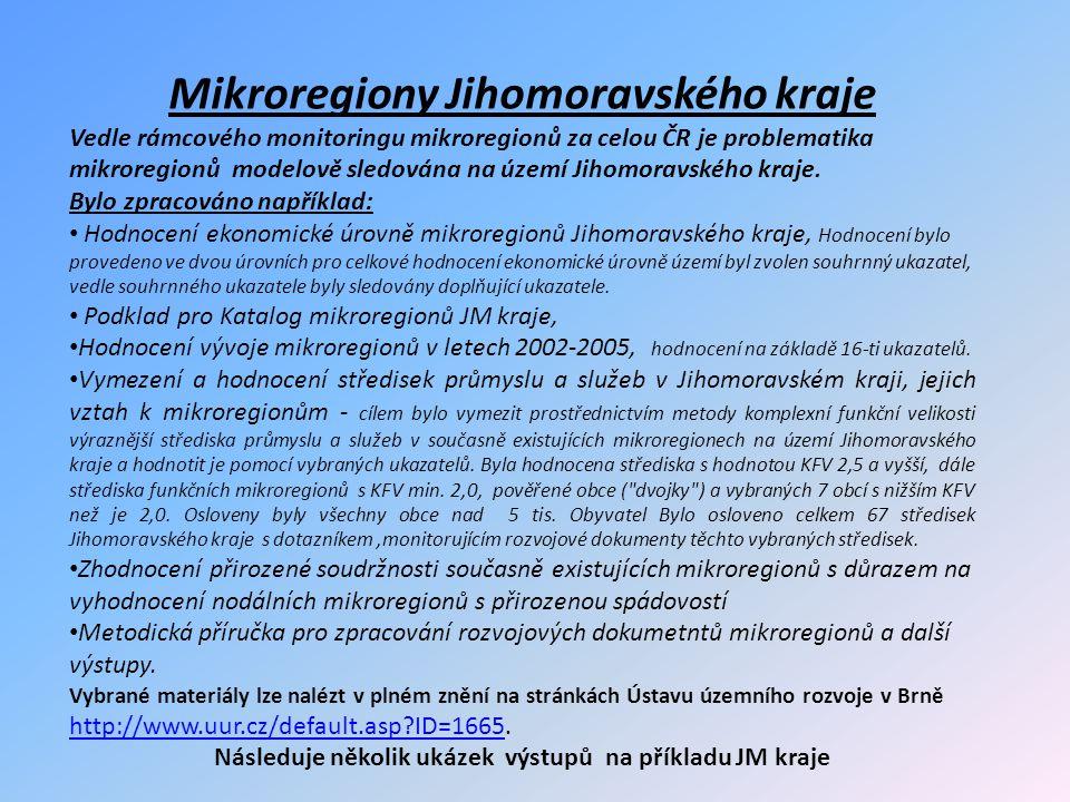 Mikroregiony Jihomoravského kraje Vedle rámcového monitoringu mikroregionů za celou ČR je problematika mikroregionů modelově sledována na území Jihomoravského kraje.