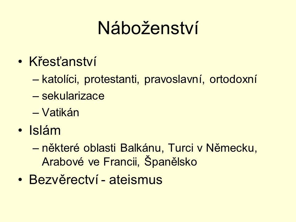 Náboženství Křesťanství –katolíci, protestanti, pravoslavní, ortodoxní –sekularizace –Vatikán Islám –některé oblasti Balkánu, Turci v Německu, Arabové ve Francii, Španělsko Bezvěrectví - ateismus