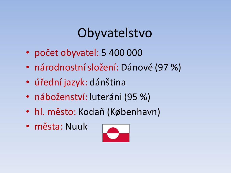 Obyvatelstvo počet obyvatel: 5 400 000 národnostní složení: Dánové (97 %) úřední jazyk: dánština náboženství: luteráni (95 %) hl. město: Kodaň (Københ