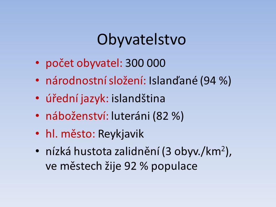 Obyvatelstvo počet obyvatel: 300 000 národnostní složení: Islanďané (94 %) úřední jazyk: islandština náboženství: luteráni (82 %) hl. město: Reykjavik