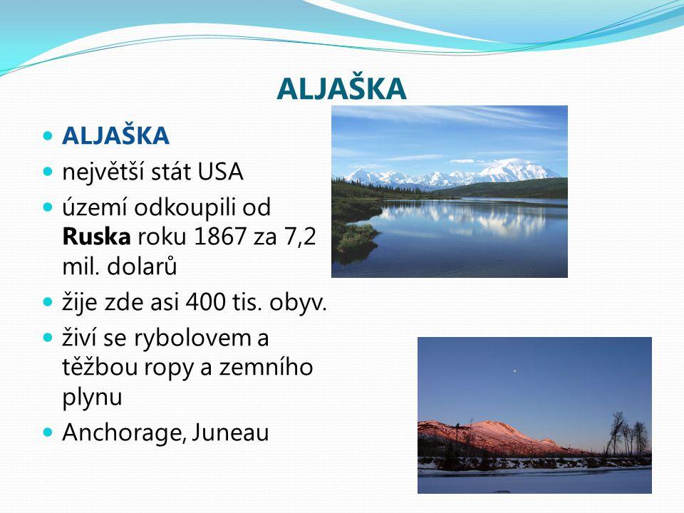 ALJAŠKA největší stát USA území odkoupili od Ruska roku 1867 za 7,2 mil. dolarů žije zde asi 400 tis. obyv. živí se rybolovem a těžbou ropy a zemního