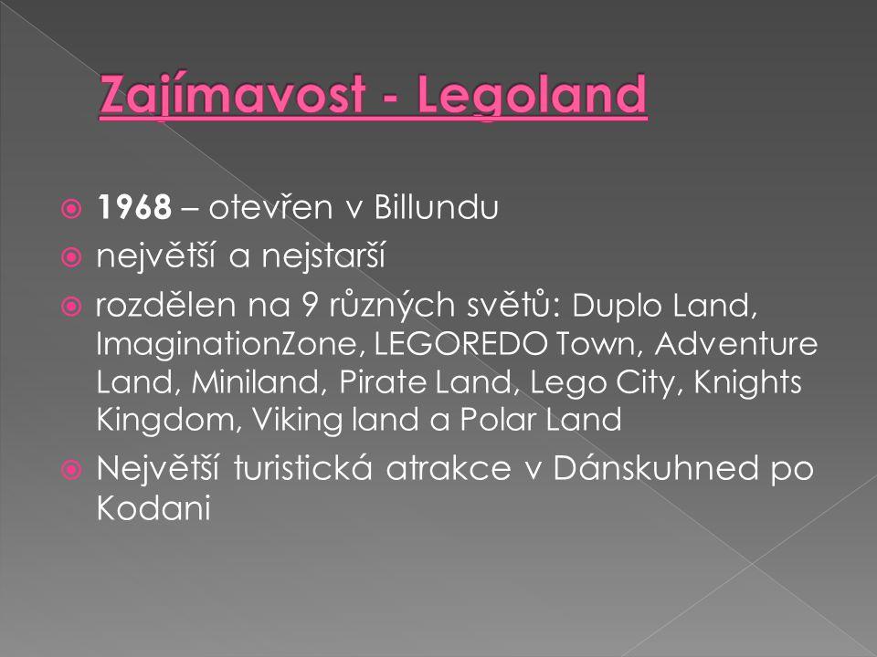  1968 – otevřen v Billundu  největší a nejstarší  rozdělen na 9 různých světů: Duplo Land, ImaginationZone, LEGOREDO Town, Adventure Land, Miniland
