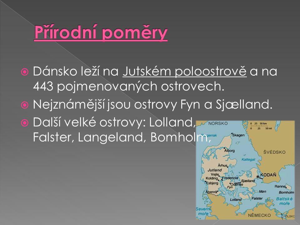  Dánsko leží na Jutském poloostrově a na 443 pojmenovaných ostrovech.  Nejznámější jsou ostrovy Fyn a Sjælland.  Další velké ostrovy: Lolland, Fals
