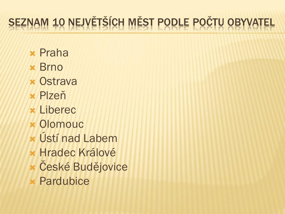  Praha  Brno  Ostrava  Plzeň  Liberec  Olomouc  Ústí nad Labem  Hradec Králové  České Budějovice  Pardubice