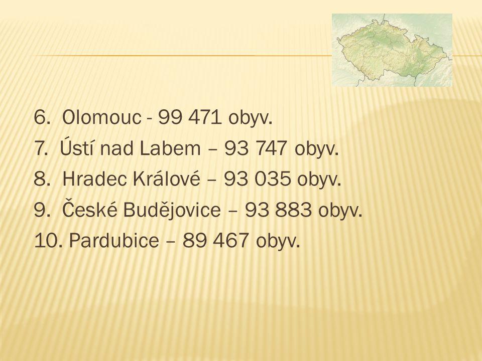 6. Olomouc - 99 471 obyv. 7. Ústí nad Labem – 93 747 obyv.