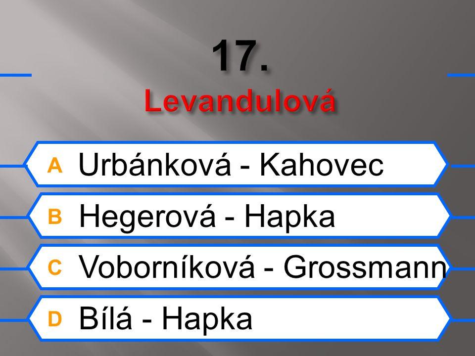A Zagorová - Rezek B Pilarová - Matuška C Bartošová - Sepéši D Simonová - Chladil