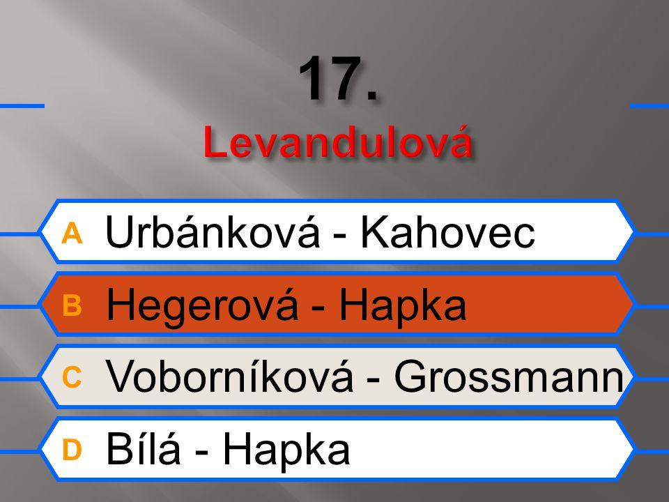 A Urbánková - Kahovec B Hegerová - Hapka C Voborníková - Grossmann D Bílá - Hapka