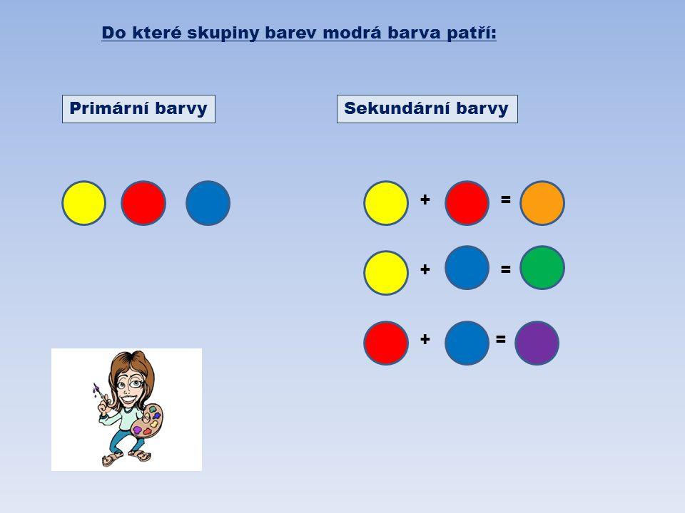 Do které skupiny barev modrá barva patří: Primární barvySekundární barvy += += +=