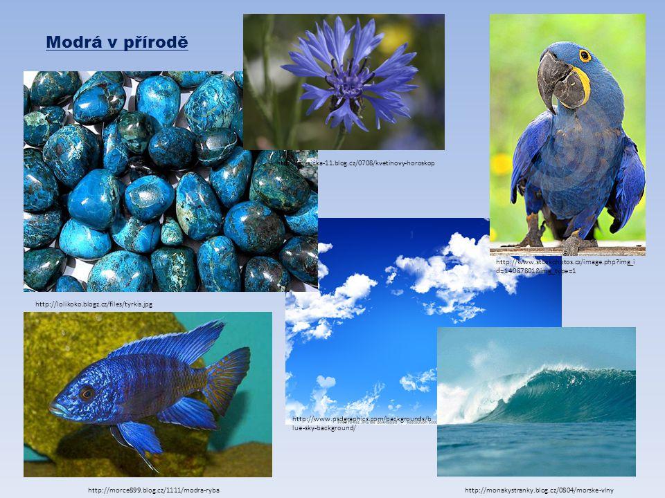 Modrá v přírodě http://lolikoko.blogz.cz/files/tyrkis.jpg http://www.stockphotos.cz/image.php?img_i d=14087801&img_type=1 http://morce899.blog.cz/1111