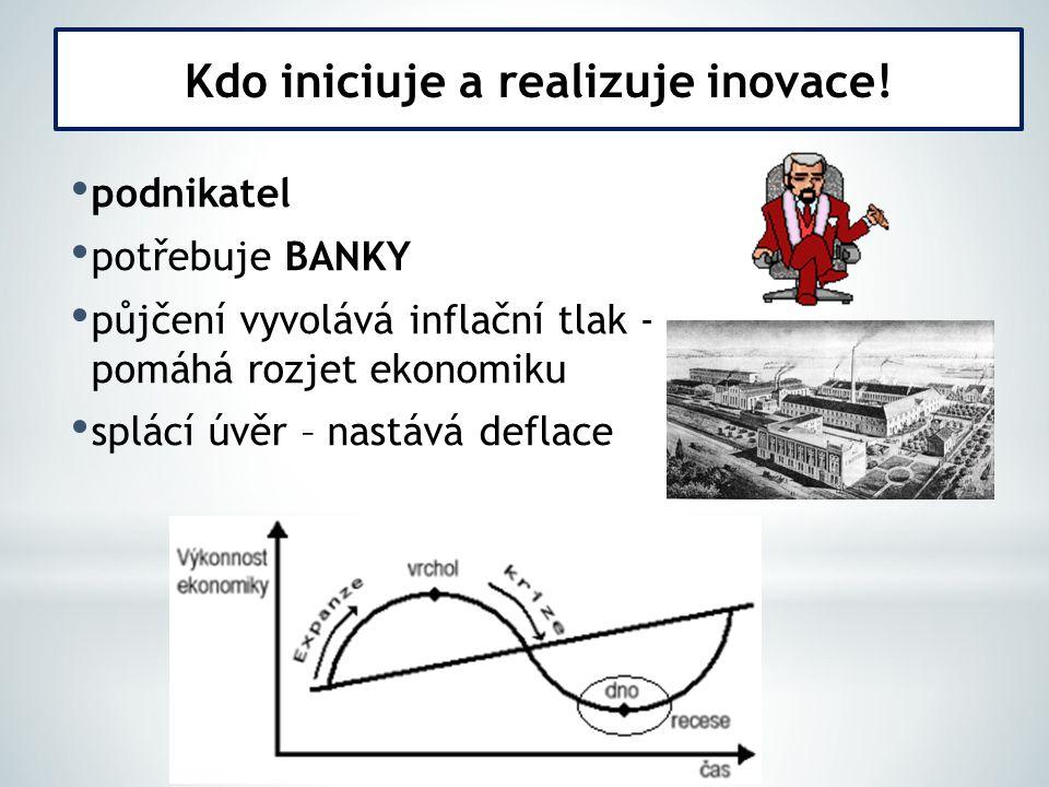 podnikatel potřebuje BANKY půjčení vyvolává inflační tlak - pomáhá rozjet ekonomiku splácí úvěr – nastává deflace Kdo iniciuje a realizuje inovace!