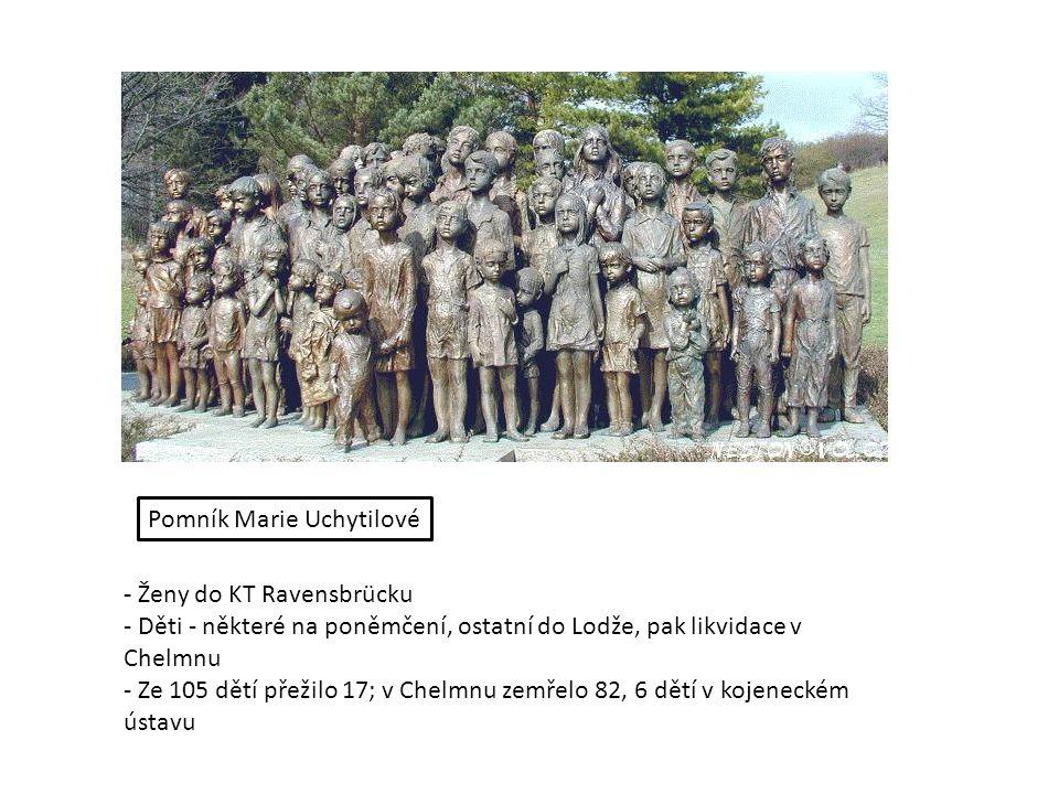 - Ženy do KT Ravensbrücku - Děti - některé na poněmčení, ostatní do Lodže, pak likvidace v Chelmnu - Ze 105 dětí přežilo 17; v Chelmnu zemřelo 82, 6 dětí v kojeneckém ústavu Pomník Marie Uchytilové