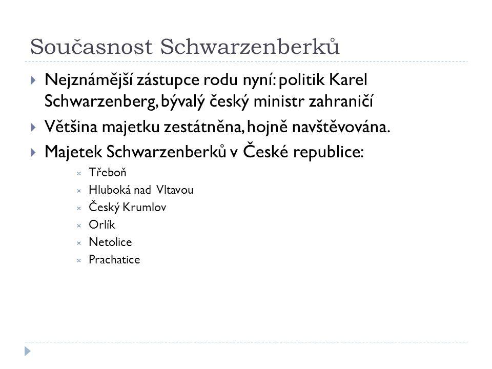 Současnost Schwarzenberků  Nejznámější zástupce rodu nyní: politik Karel Schwarzenberg, bývalý český ministr zahraničí  Většina majetku zestátněna, hojně navštěvována.
