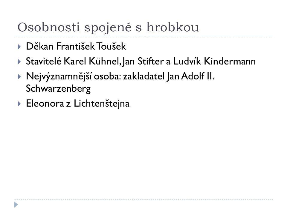 Osobnosti spojené s hrobkou  Děkan František Toušek  Stavitelé Karel Kühnel, Jan Stifter a Ludvík Kindermann  Nejvýznamnější osoba: zakladatel Jan Adolf II.